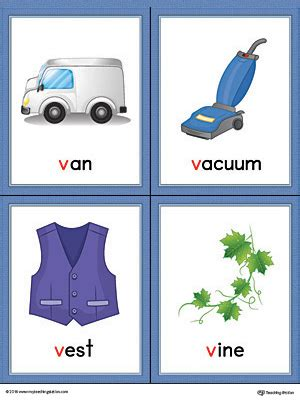 words with the letter v letter v words and pictures printable cards vacuum 1741