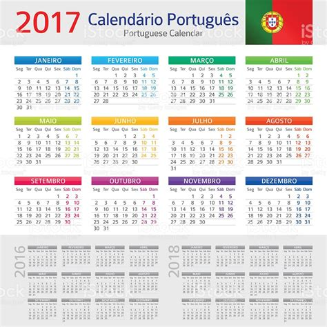 Calendario 2018 Portugal Excel Portuguese Calendar 2017 Calendario Portugues 2017 Stock