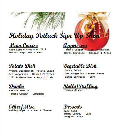potluck signup sheet    word documents