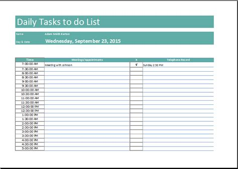 Daily Task List Template Free To Do List Task Inventory Template
