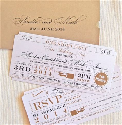 unique wedding invitations theatre ticket wallet wedding invitation