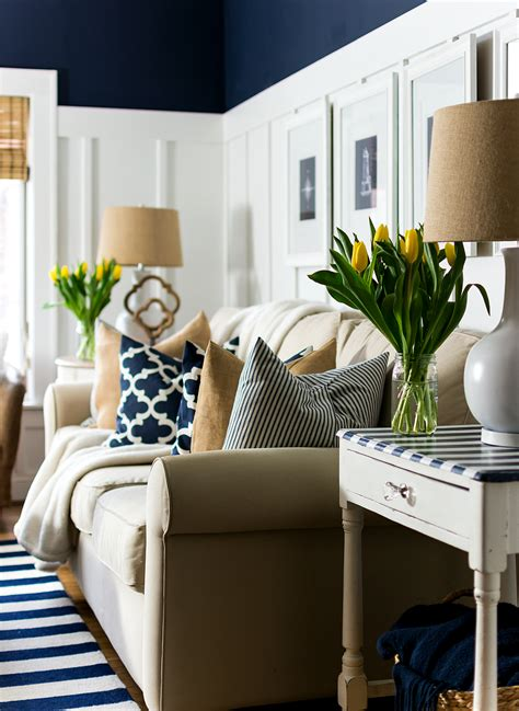 spring living room decorating ideas spring decor ideas in navy and yellow it all started