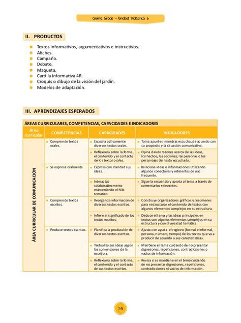 unidades y sesiones para el cuarto grado de primaria sexta unidad cuarto grado 2015