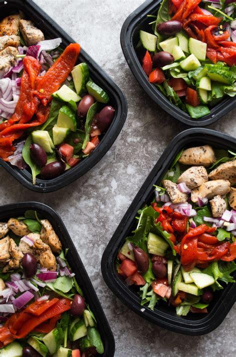 greek chicken salad meal prep bowls