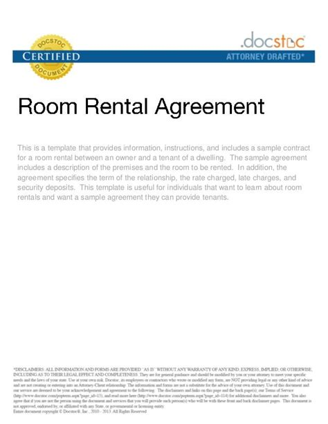 Rental Contract Letter Sle Printable Sle Rental Agreement For Room Form Real Estate Forms Word Rental