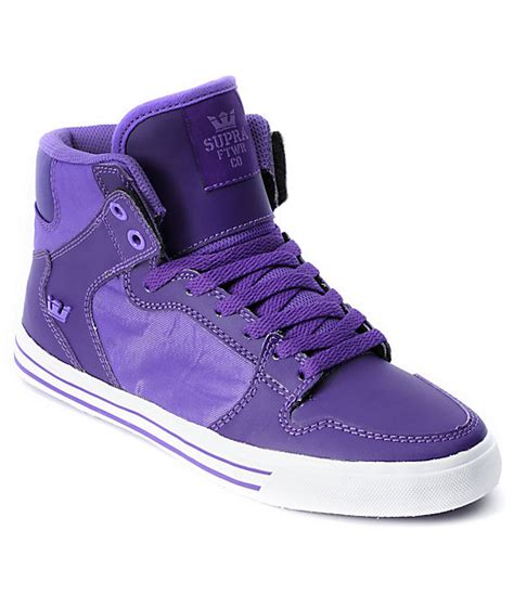 purple high top sneakers supra womens vaider purple high top shoes at zumiez pdp