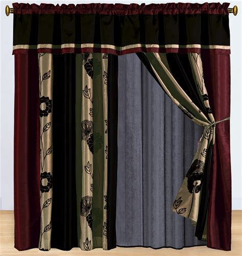burgundy and beige curtains floral burgundy and tan curtain set ebay