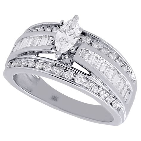 Wedding Rings Marquise Cut by 14k White Gold Marquise Cut Solitaire Wedding