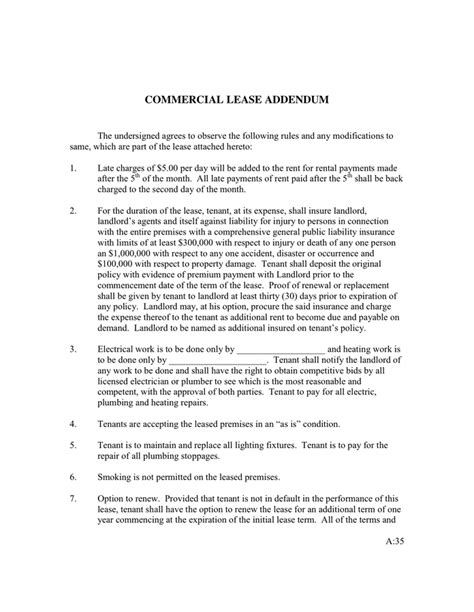 Commercial Lease Rider In Word And Pdf Formats Lease Rider Template
