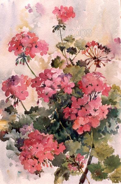 watercolor geraniums reminds me of the painting carla made when she visited us in ca