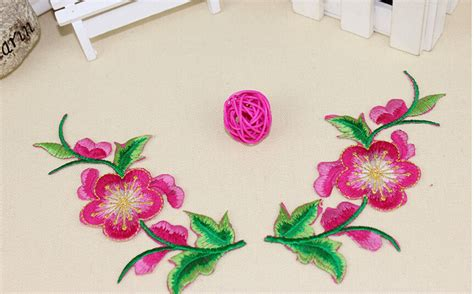 Flowers Bordir List 4pcs flower embroidery patch purple embroidered flower patches iron on for bed sheets clothes