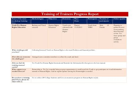 training of trainers progress report template
