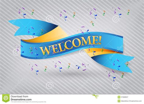 design banner welcome welcome blue waving ribbon banner illustration royalty