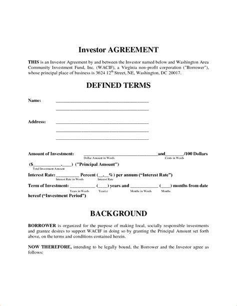 investor contract template free investor agreement template beepmunk