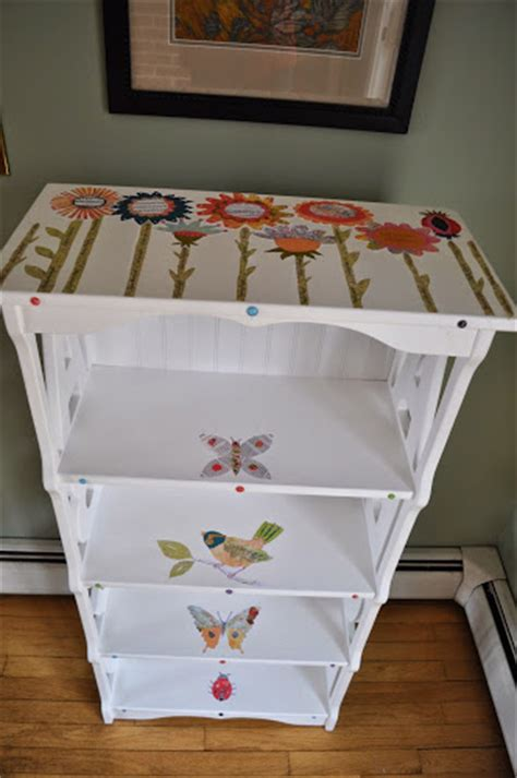 Decoupage Shelves - with decoupage child s book shelf