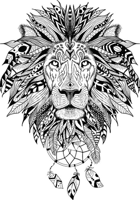 pattern drawing lion detailed lion in aztec style with dream catchers perfect