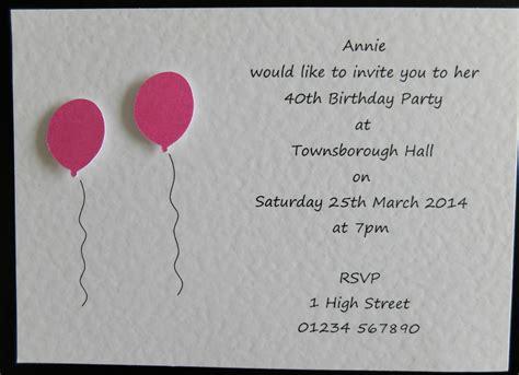 Handmade Birthday Invites - 10 handmade personalised birthday invitations 18th 21st