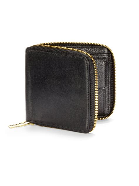 leather zip wallet mcq leather zip around wallet in black for lyst