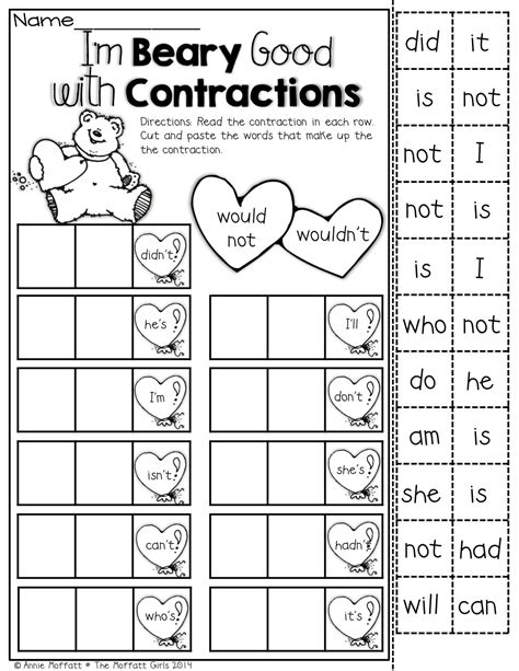 printable worksheets contractions 2nd grade february no prep packet 1st grade school language