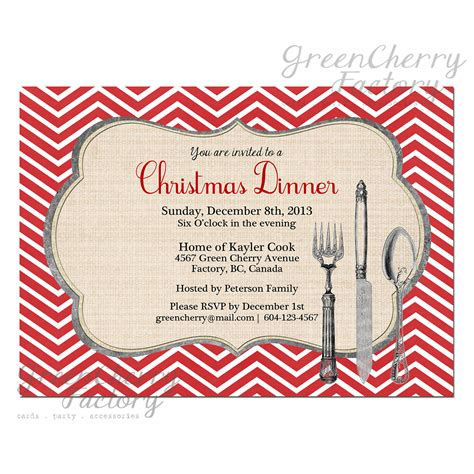 printable christmas dinner invitations christmas party dinner invitation red chevron background