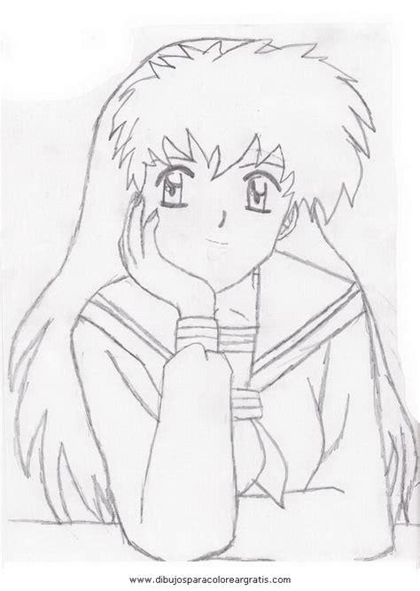imagenes de inuyasha para dibujar a lapiz dibujo kagome inuyasha 7 en la categoria dibujos animados