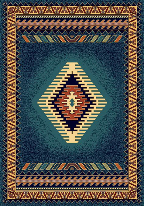 apache rugs blue multi apache american lodge carpet southwestern bordered area rug