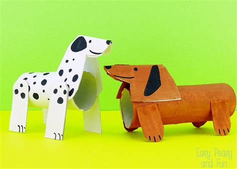 dogs with rolls of toilet paper roll dogs crafts with toilet paper rolls easy peasy and
