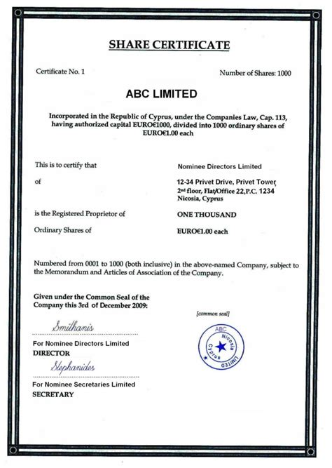 shareholding certificate template cyprus offshore zones offshore and international gsl