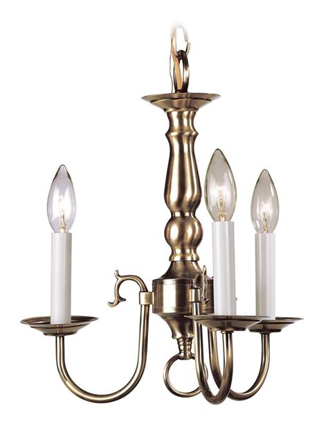 Antique Brass Livex Williamsburg 3 Light Mini Chandelier Williamsburg Brass Chandelier