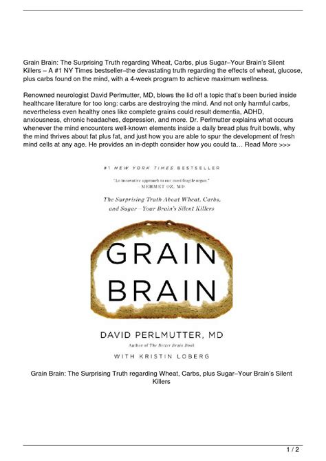 grain brain the surprising grain brain the surprising truth about wheat carbs and sugar8211your brain8217s silent killers