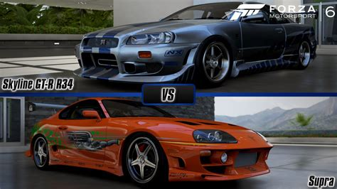 nissan skyline 2002 paul walker forza motorsport 6 brian s nissan skyline gt r r34 vs