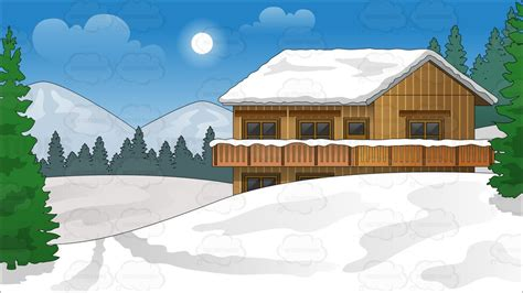 Home Design Software List snow covered ski chalet background vector clip art cartoon
