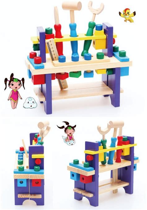 learn bench kids children wooden diy work bench learning tool set toy
