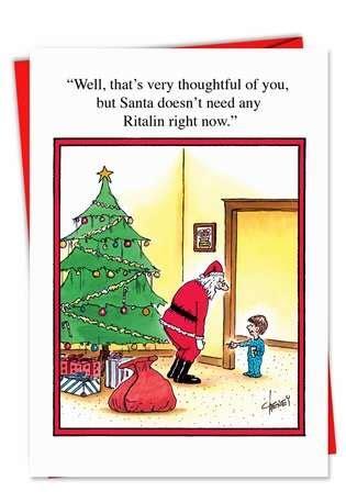 funny  ritalin  santa christmas card nobleworkscardscom
