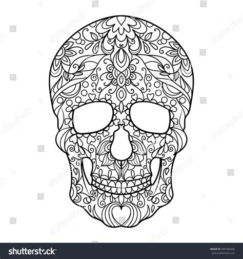 anti stress coloring book japan hunan skull coloring book adults vector stock vector
