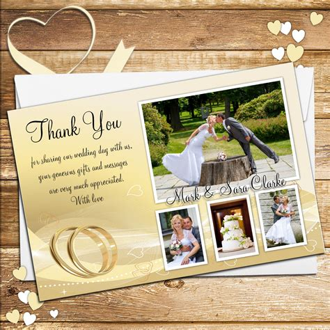 Thank You For Gift Card Wedding - 10 personalised gold rings wedding day thank you photo cards n189