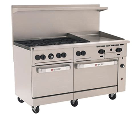 imperial commercial oven pilot light wolf c60ss 6b24g 60 quot 6 burner gas range with griddle ng