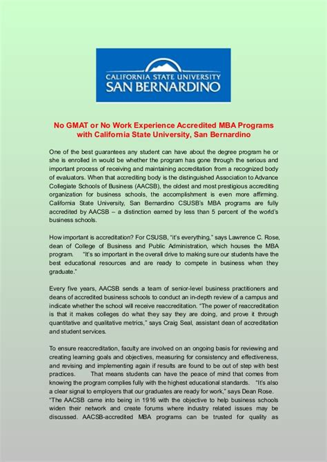 Mba At California State by No Gmat Or No Work Experience Accredited Mba Programs With