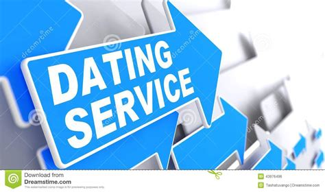 Dating Service On Blue Arrow Sign. Stock Photo   Image