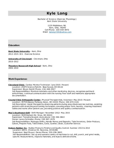 Resume Exles Exercise Science Resume Template Exercise Science