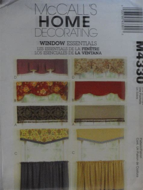 sewing cafe curtains instructions mccall s 4330 sewing pattern valance cafe curtains