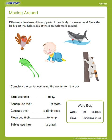 science worksheets grade 1 moving around view free grade science worksheet