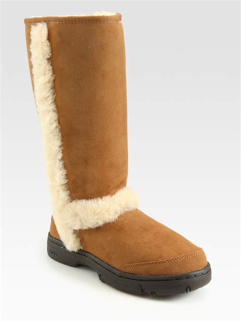 ugg boots for ugg shearling trim suede boots in brown lyst