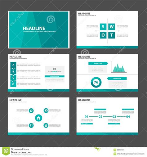 Green Blue Polygon Infographic Element And Icon Presentation Templates Flat Design Set For Website Design Presentation Template
