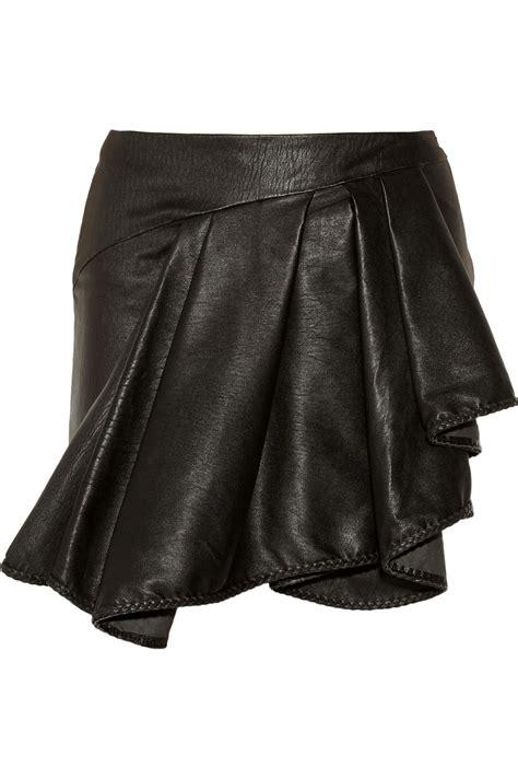 ahr ruffled leather mini skirt in black lyst