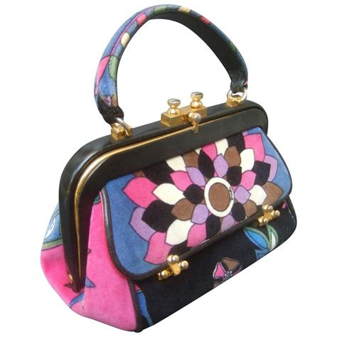 Emilio Pucci Handbag Sale by Emilio Pucci Velvet Leather Trim Handbag Ca 1970 For