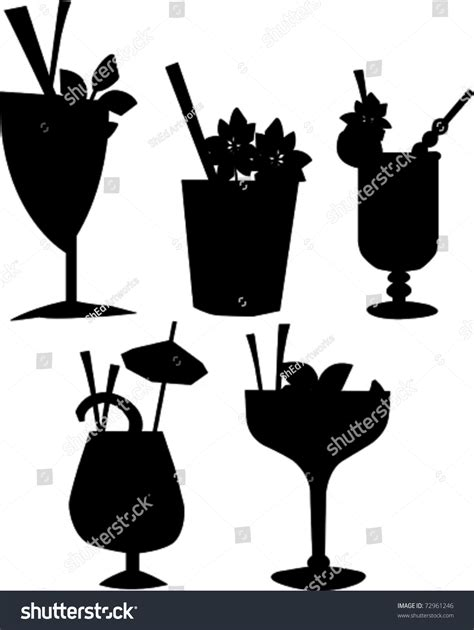 Retro Tropical Cocktail Drink Silhouette Set Stock Vector