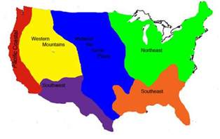 8 regions of the united states map americans