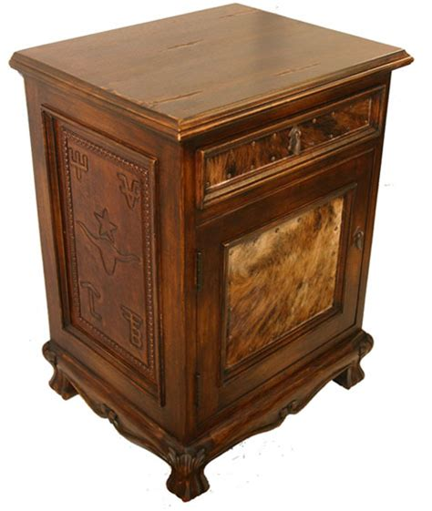 Cowhide Bedroom Furniture Leather And Cowhide Nightstand Western Bedroom Furniture Free Shipping