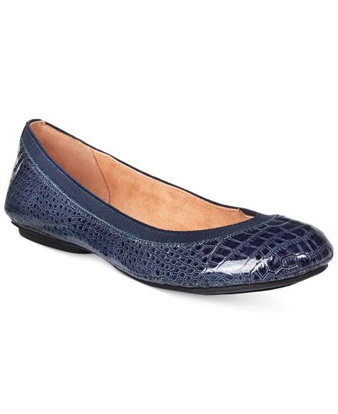 bandolino flat shoes bandolino edition ballet flats in blue navy croc lyst